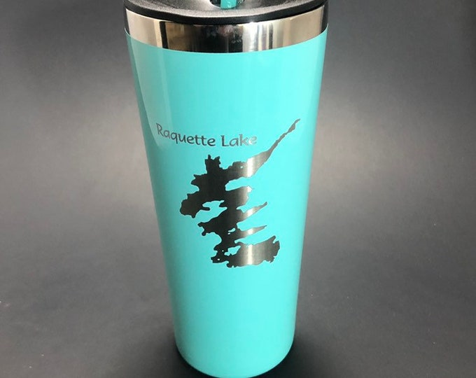 Raquette Lake etched on a 22 oz insulated tumbler