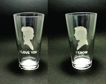 I Love You/I Know - Star Wars - Set of 2 Pint Glasses