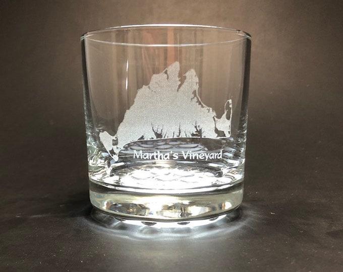 Martha's Vineyard - Etched 10.25 oz Rocks Glass