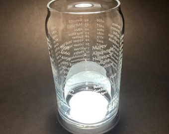 46 Peaks of the Adirondacks - Full Wrap Laser etched 16 oz Can Glass