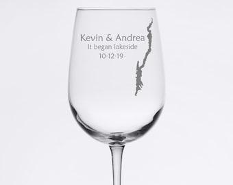 Custom Wedding Set - Lake George - Etched 18.5 oz Stemmed Wine Glass