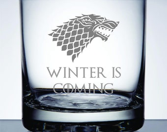 Winter Is Coming - Etched 10.25 oz Rocks Glass - Game of Thrones