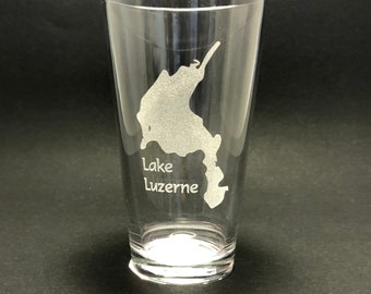 Lake Luzerne - Etched Pint Glass - Lake Luzerne, New York