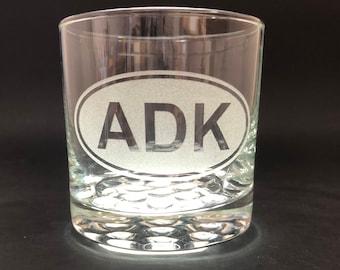 ADK Etched Euro Sticker Style - 10.25 oz Rocks Glass - Adirondack Park