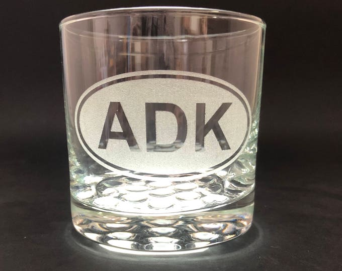 ADK Etched Euro Sticker Style - 10.25 oz Rocks Glass - Adirondack Park