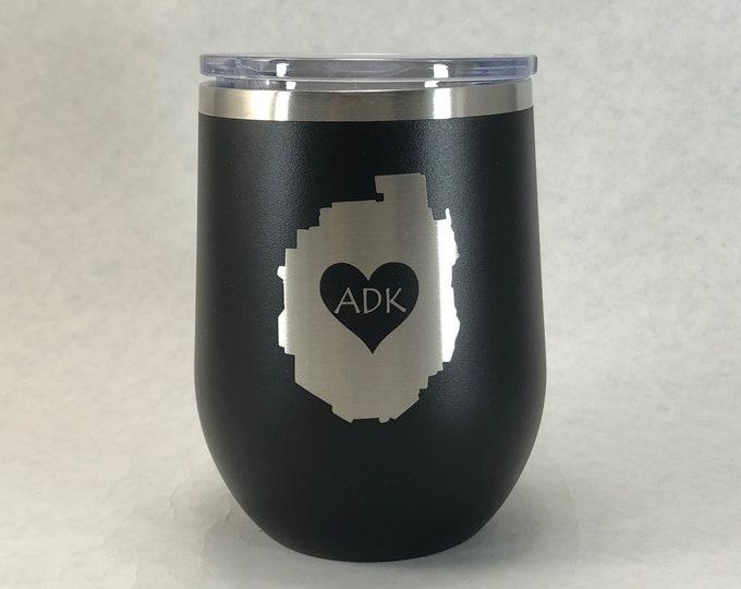Adirondack Park love - FREE SHIPPING - 12 oz Polar Stemless Wine