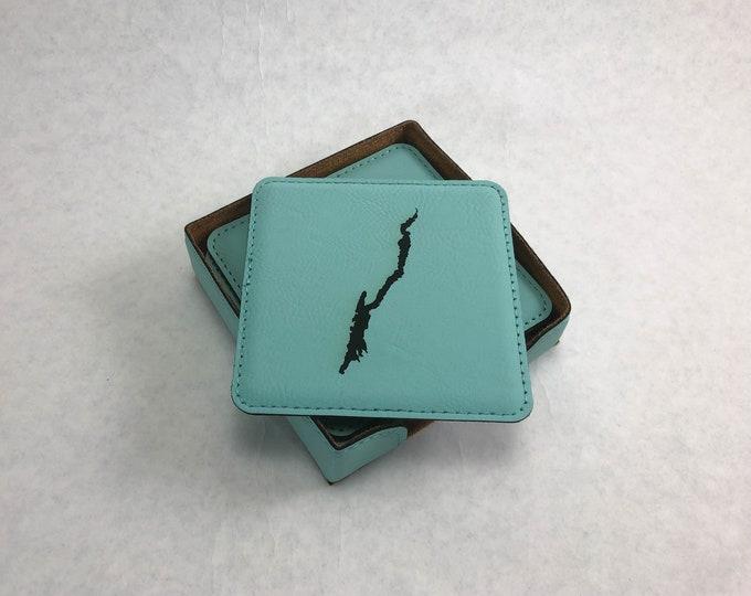 Set of 6 Leatherette Coasters - Lake George