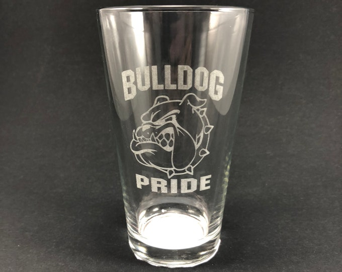 Bulldog Pride - South Glens Falls - Etched Pint Glass