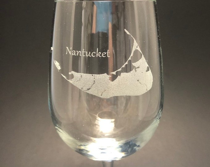 Nantucket Island - Etched 18.5 oz Stemmed Wine Glass