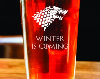 Winter is Coming - Etched Pint Glass - Game of Thrones