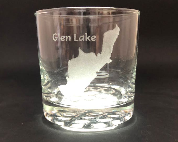 Glen Lake - Etched 10.25 oz Rocks Glass - Glen Lake New York