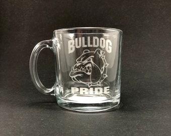 Bulldog Pride  - 13 oz Glass Hot Beverage Mug