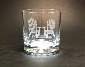 Adirondack Chairs - Etched 10.25 oz Rocks Glass