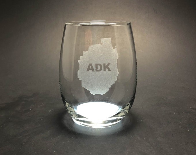 Adirondack Park - Etched 15 oz Stemless Wine Glass