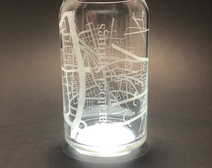 Saratoga Springs - Full Wrap Laser etched 16 oz Can Glass