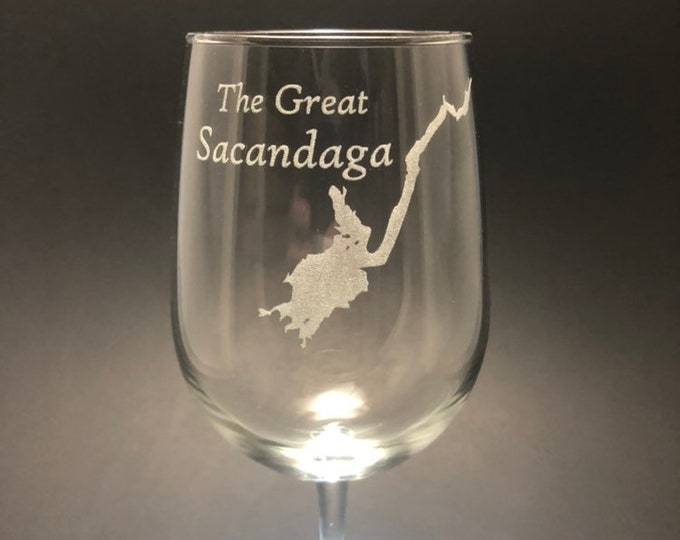The Great Sacandaga - Etched 18.5 oz Stemmed Wine Glass