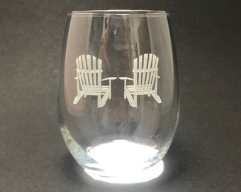 Adirondack Chairs - Etched 15 oz Stemless Wine Glass