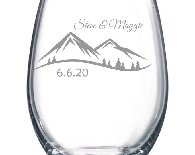 Custom Wedding Set of 2 - Mountain Scene - Etched 15 oz Stemless Wine Glass