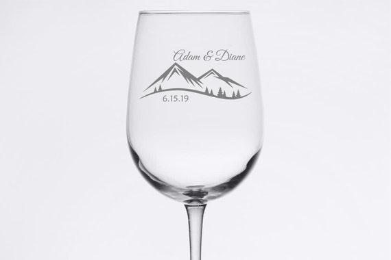 Custom Wedding Set - Mountain Scene - Etched 18.5 oz Stemmed Wine Glass