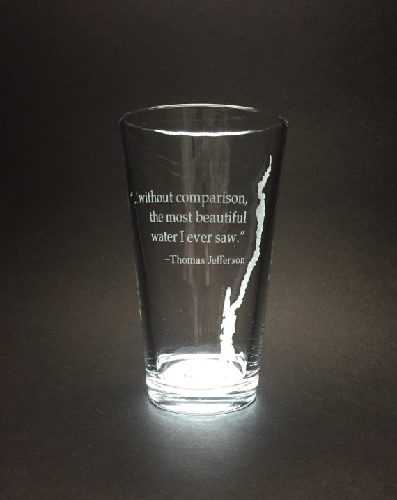 Set of 4 Lake George with Thomas Jefferson quote  - Etched Pint Glass