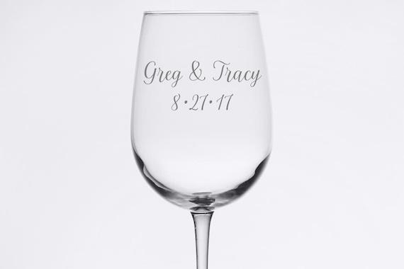 Custom Wedding Set - Simple and Elegant - Etched 18.5 oz Stemmed Wine Glass