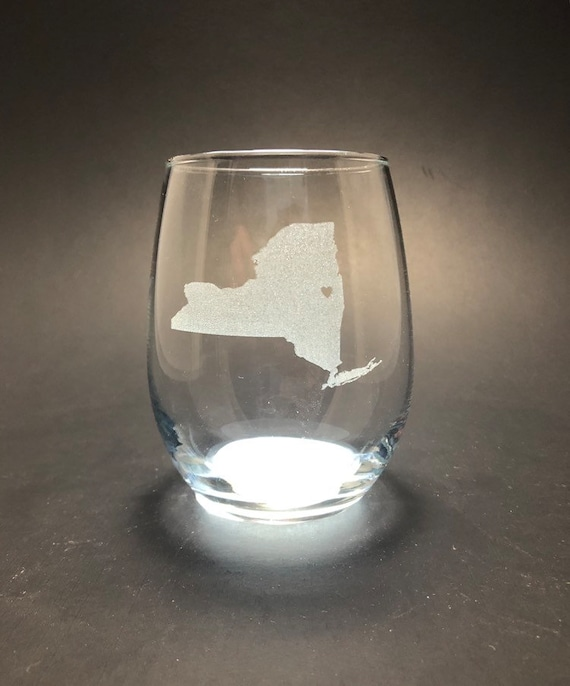 New York where your heart is - Etched 15 oz Stemless Glass