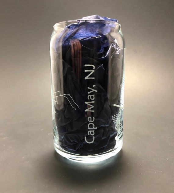 Cape May - Full Wrap Laser etched 16 oz Can Glass
