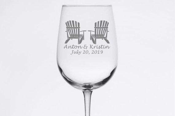 Custom Wedding Set - Adirondack Chairs - Etched 18.5 oz Stemmed Wine Glass