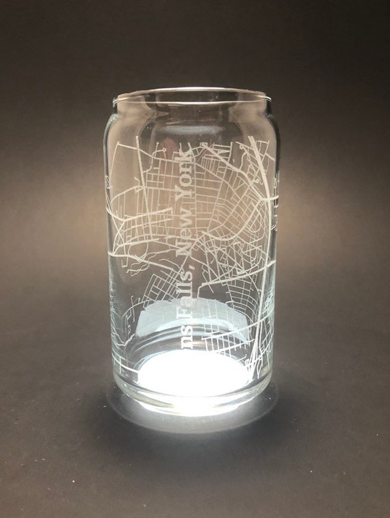 Glens Falls city map - Full Wrap Laser etched 16 oz Can Glass