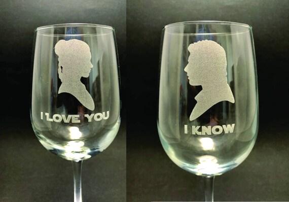 I Love You/I Know - Star Wars - Set of 2 18.5 oz Stemmed Wine Glasses