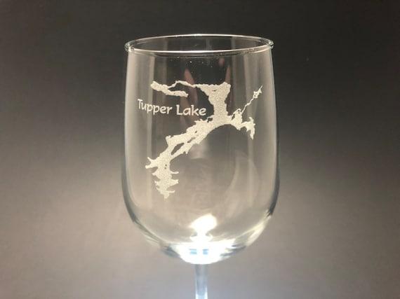 Tupper Lake - Etched 18.5 oz Stemmed Wine Glass - Tupper Lake, New York