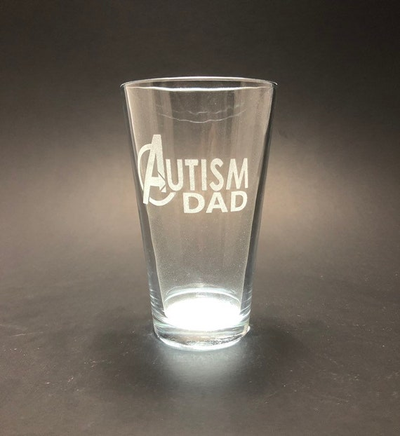 Autism Dad - laser etched - Etched Pint Glass