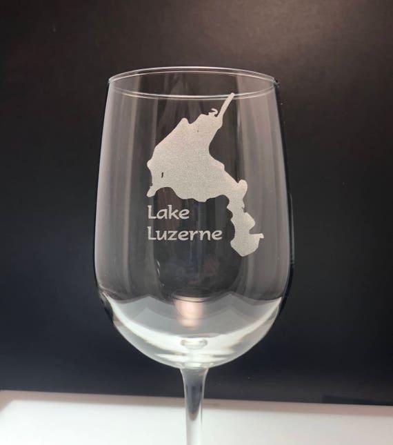 Lake Luzerne - Etched 18.5 oz Stemmed Wine Glass - Lake Luzerne New York
