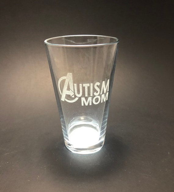Autism Mom - laser etched - Etched Pint Glass