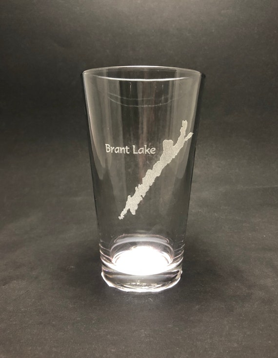 Set of 2 Brant Lake Laser Etched Pint Glass