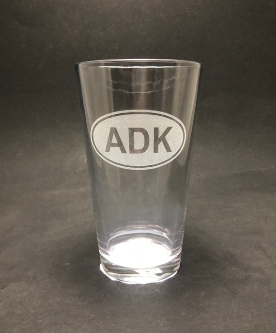 ADK Euro style laser etched - Etched Pint Glass
