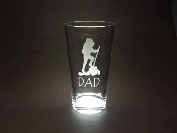 Dad and Hiker - Etched Pint Glass