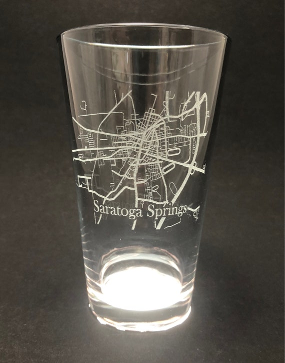 Saratoga Springs Street Map - Etched Pint Glass