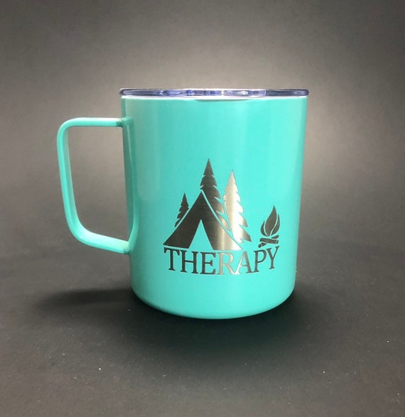 Tent Therapy - 14 oz Stainless Steel Handled Mug