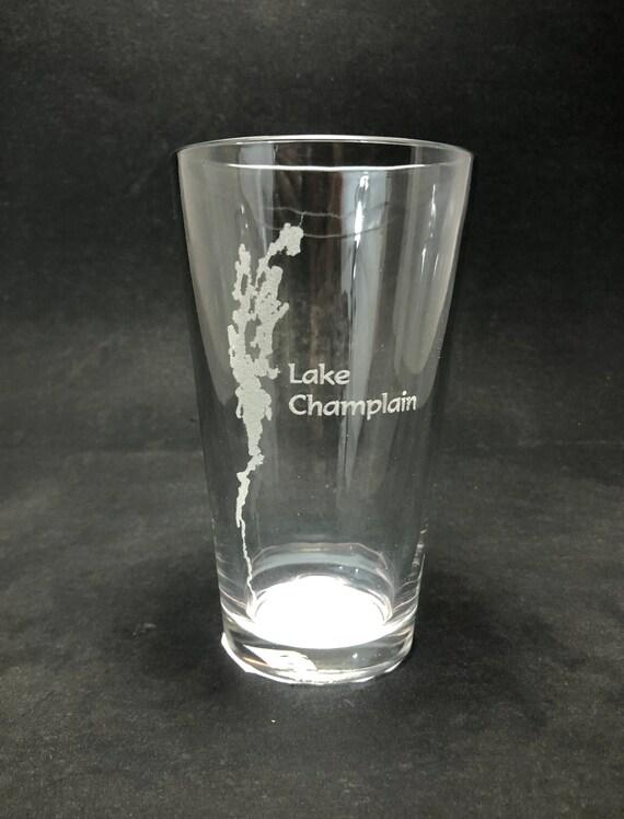 Set of 2 Lake Champlain Laser Etched Pint Glass