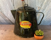 Vintage Enamel Coffee Pot Pitcher Tea Pot Tea Kettle Enamelware Kitchen Decor Rustic Farmhouse Style Garden Planter Distressed Flower Vase