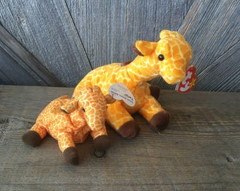 471c810db29 2 Vintage Giraffe Beanie Baby Twigs Beanie Babies Decoration 90s Toys Big  Little Teenie Mom and Baby Nursery Shower Easter Basket Filler