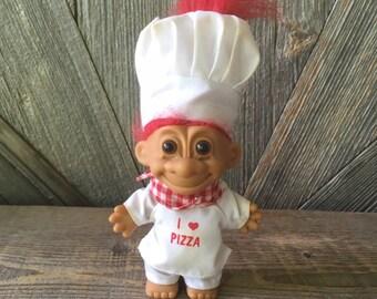 "PIZZA Russ Troll Doll PIZZA CHEF 5/"" I LOVE PIZZA New"