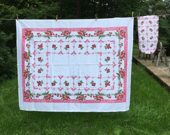 Vintage Pink Cherry Tablecloth Floral Flowers Pink Maroon Red Retro Colors  Spring Summer Wedding 66 X 52 Table Cloth Card Table Picnic Linen