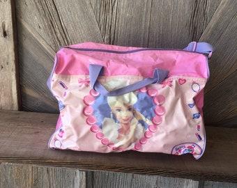 b23710b65124 Vintage Barbie Duffle Bag  90s Kids Bag School Sports Gym Bag  Heavy Duty  Suitcase Sleepover Bag Pink Barbie Bag Purse Mattle Travel Bag