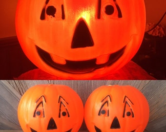 """16/"""" Tall, New Realistic Looking Pumpkin Blow Molds Set of 2"""