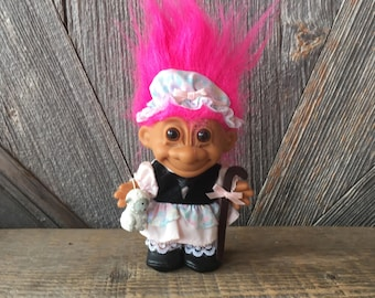 Vintage Little Bo Peep Troll Doll Russ Berrie Mary Had A Lamb Staff And Sheep