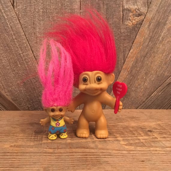 vintage troll dolls 2 valentines day trolls with red and pink etsy