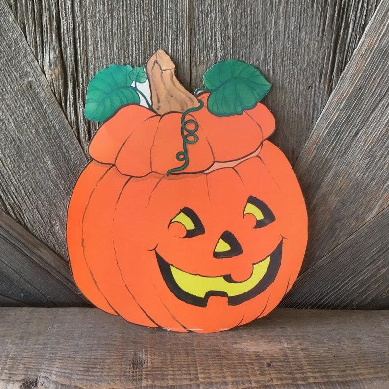 Vintage Halloween Pumpkin Decoration Large Jack,o,lantern Pumpkin Die Cut  Cardboard/ Paper Party Decoration Orange Fall Jack O Lantern