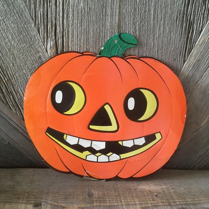 Vintage Halloween Pumpkin Decoration {Beistle} Large Glowing Jack,o,lantern  Pumpkin Die Cut Cardboard/ Paper Party Decoration Embossed Rare